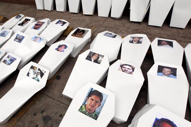 Protesta en homenaje a los periodistas asesinados en Honduras
