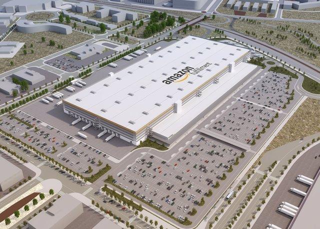 Imagen virtual del centro logístico de Amazon en El Prat de Llobregat
