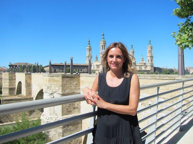 La candidata del PSOE al Congreso, Susana Sumelzo, en el Balcón de San Lázaro
