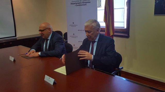 El conselelr Jordi Baiget con el presidente de la patronal Cecot, Antoni Abad