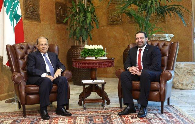 El presidente de Líbano con Saad Hariri