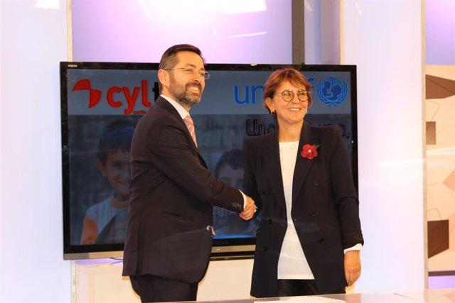 Responsables de RTVCyL y Unicef.