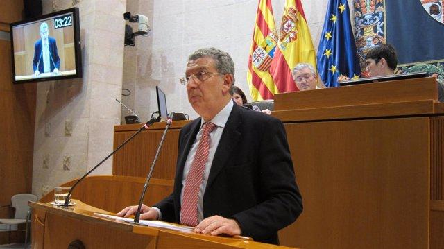 El consejero de Sanidad, Sebastián Celaya, en el pleno de las Cortes