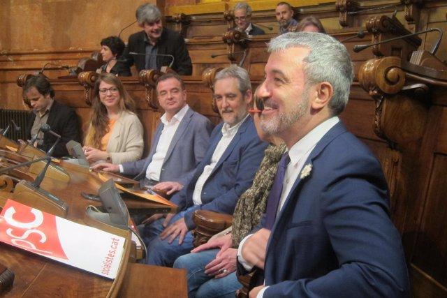 J.Collboni (PSC), J.Coronas, A.Bosch (ERC), J.Sanz y J.Asens (BComú)