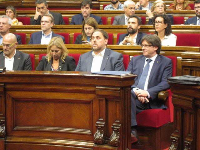 Consellers R.Romeva, N.Munté, vicepte.O.Junqueras, pte.C.Puigdemont