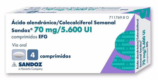 Ácido alendrónico-Colecalciferol Sandoz 3D