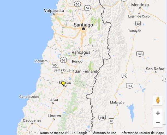 Ubicación del terremoto de Chile