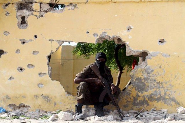 Un soldado somalí en Mogadiscio