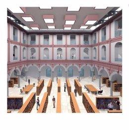 Boceto maqueta biblioteca publica estado san agustín málaga