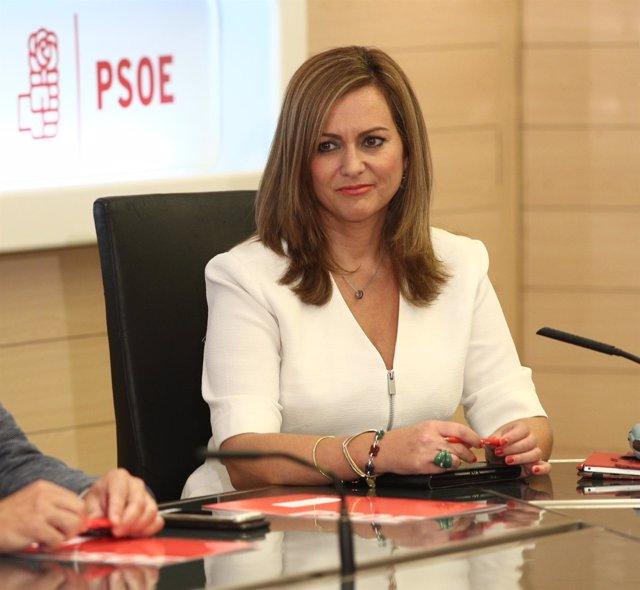 María Jesús Serrano en la reunión de la gestora del PSOE