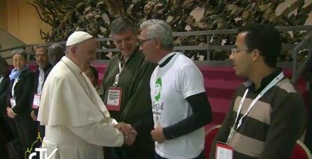 Diego Cañamero saluda al Papa Francisco