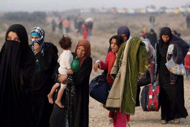 Desplazados cerca de Mosul