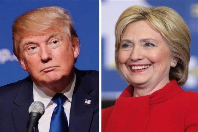 Montaje de Clinton y Trump