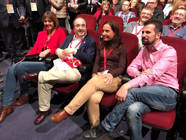 Los socialistas Idoia Mendia, Miquel Iceta, Sara Hernández y Luís Tudanca