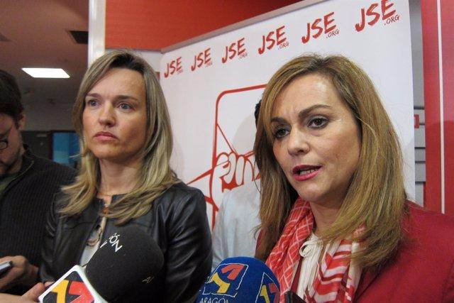 Pilar Alegría (PSOE-Aragón) y María Jesús Serrano.