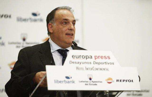 Javier Tebas en los Desayunos de Europa Press