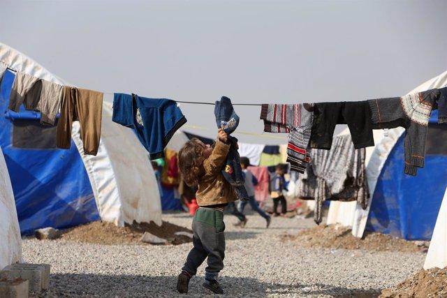 Niña desplazada por la ofensiva sobre Mosul