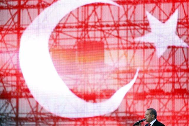 Erdogan frente a la bandera de Turquía.