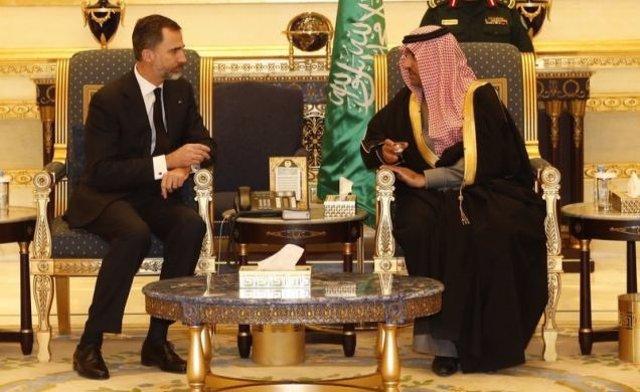 Felipe VI y el Príncipe Turki Bin Abdullah Bin Abdulaziz Al-Saud de Arabia Saudí