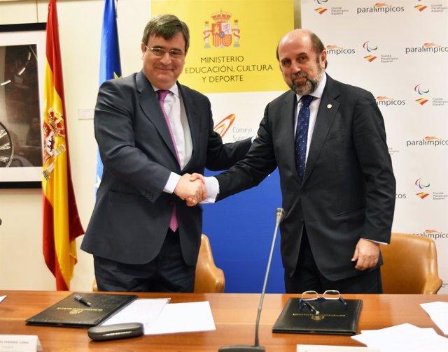 Miguel Cardenal y Miguel Sagarra, secretario general del CPE