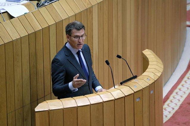 Feijóo durante su intervención en la primera jornada de investidura