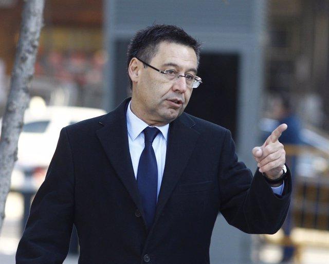 Josep Maria bartomeu a su llegada a la Audiencia Nacional