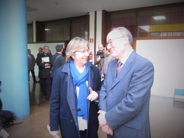 Rosa Quinta y el profesor José Manuel Sobrino Heredia