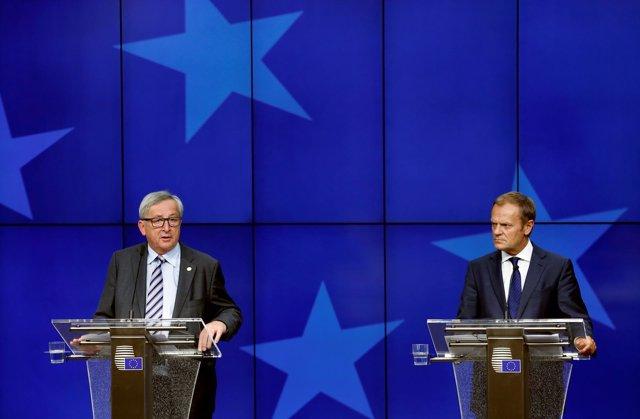 Jean-Claude Juncker y Donald Tusk en una comparecencia