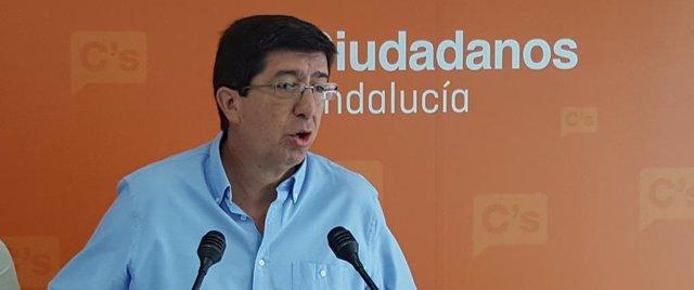 El presidente y portavoz de C's en el Parlamento andaluz, Juan Marín