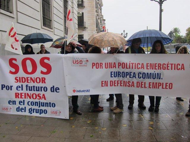 Protesta de USO en defensa del acero europeo