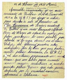Carta incluida dentro del despliegue de documentos de la exposición