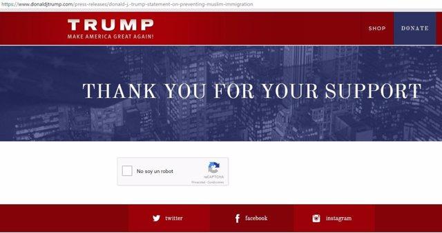 Captura de pantalla de la web de campaña de Donald Trump