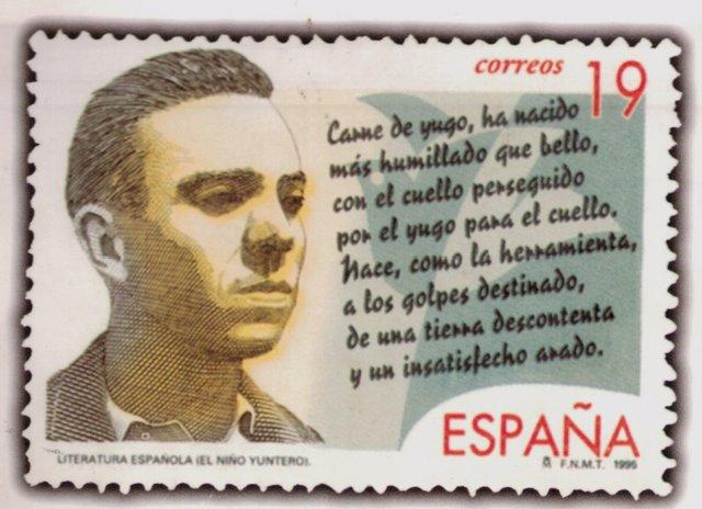 Sello de Correos de 1995 conmemorativo de Miguel Hernández