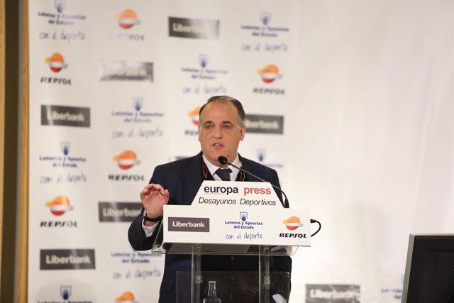 Javier Tebas, presidente de Laliga en un desayuno con Europa Press