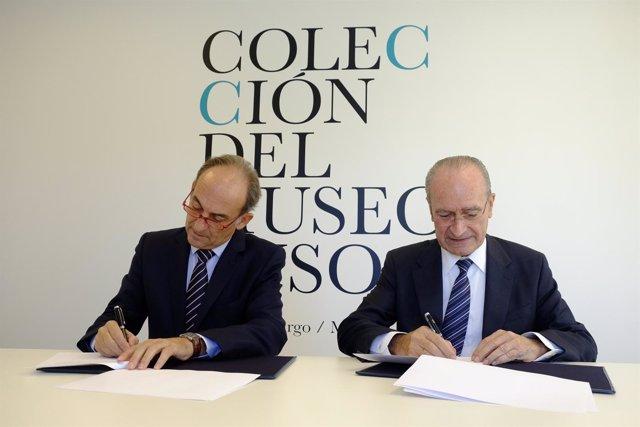 Francisco de la Torre y Gabriel Pérez en firma convenio Loyola y Ayuntamiento