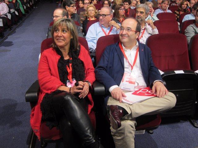 La 'número dos' del PSC, N. Marín, y el líder del partido, M. Iceta