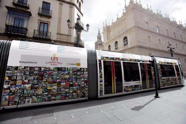 Exposición móvil en el tranvía de Sevilla