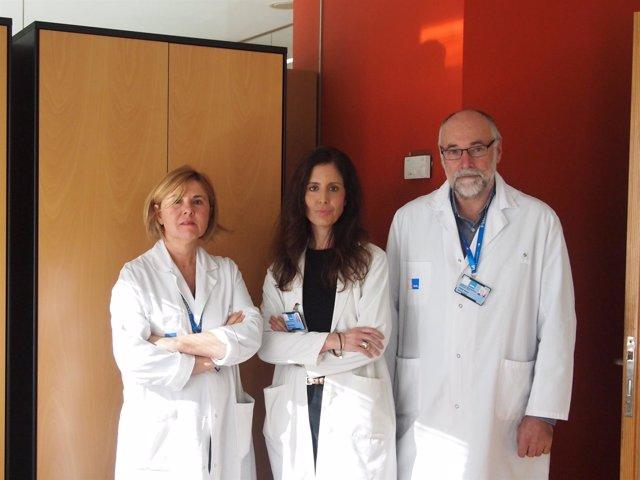 P.Salgado (psiquiatra), G.Villaba (neurocirujana) y V.Pérez jefe de Psiquiatría