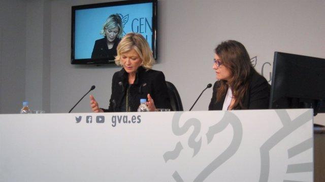 Gabriela Bravo y Mónica Oltra en rueda de prensa