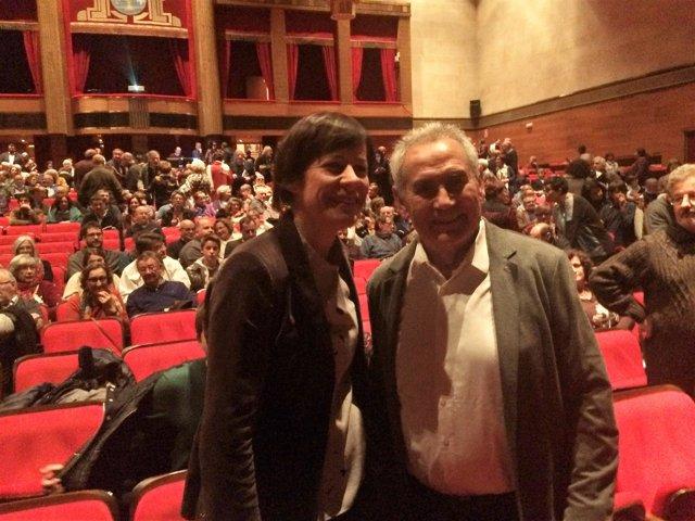 Ana Pontón y Camilo Nogueira en el homenaje del veterano nacionalista