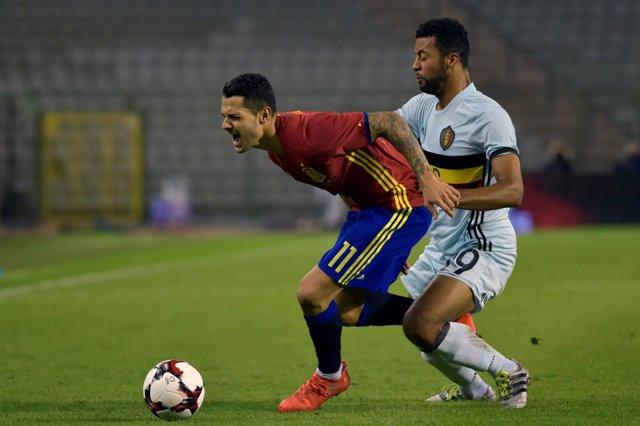 Vitolo con la selección en el Bélgica - España