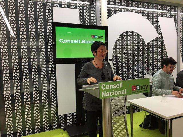 Marta Ribas, ante el Consell Nacional de ICV.