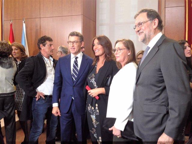 Feijóo, Eva Cárdenas, Viri Fernández y Mariano Rajoy