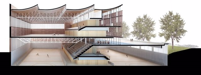 El nuevo polideportivo de la Sagrera contará con pistas en tres niveles.