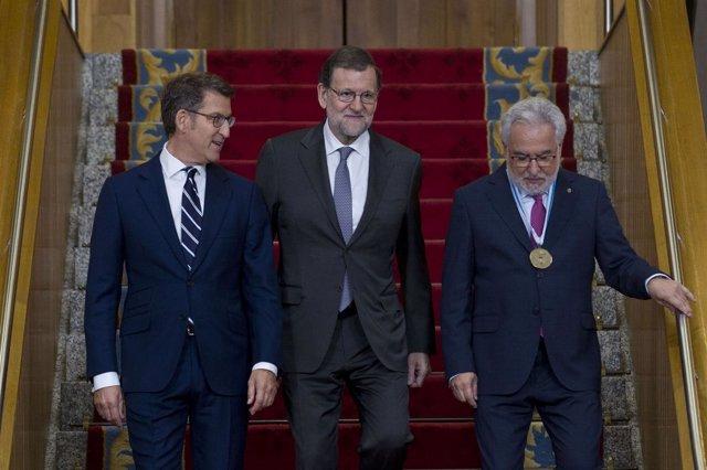 Feijóo, Rajoy y Miguel Santalices en la toma de posesión 2016