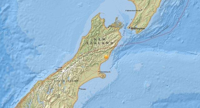 Epicentro del terremoto de Nueva Zelanda