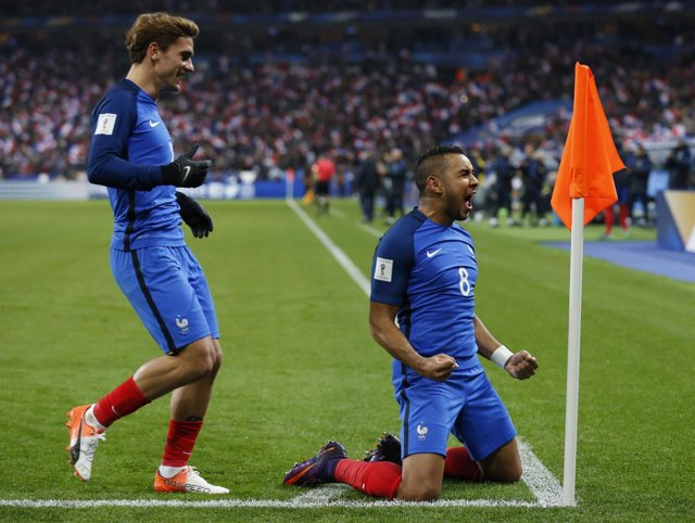 Payet y Antoine Griezmann con Francia