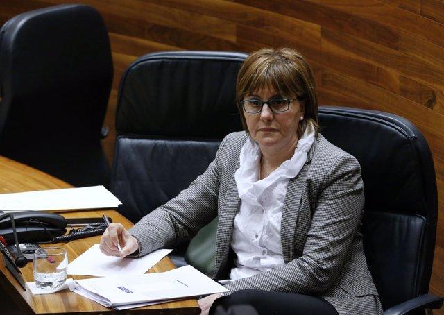 La consejera Pilar Varela, durante el Pleno.
