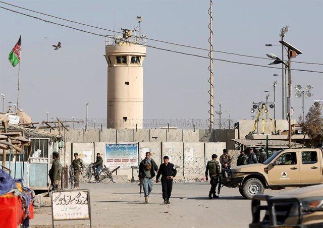 Base aérea de Bagram, en Afganistán, tras un atentado de los talibán