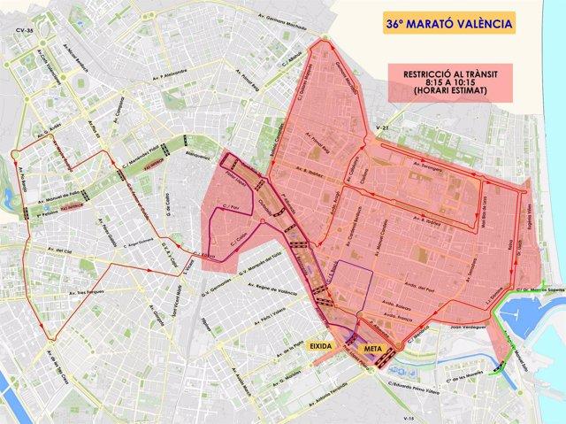 Corte de calles por el maratón